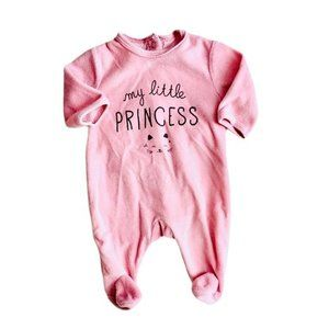 Kiabi Pink Velour Kitty Footed One-Piece
